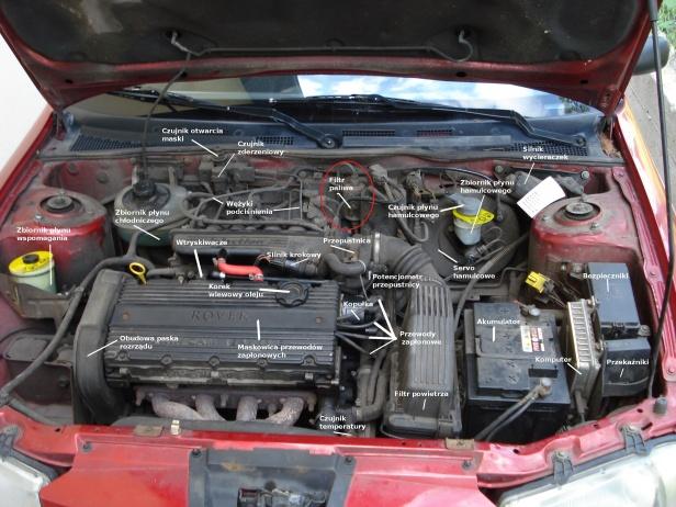 Umiejscowienie filtra paliwa wkomorze silnika