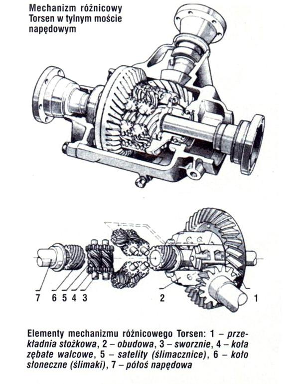 Budowa klasycznego mechanizmu Torsen