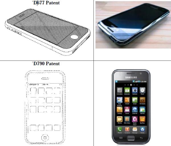 Porównanie patentów Apple'a zproduktami firmy Samsung (źródło: Engadget)