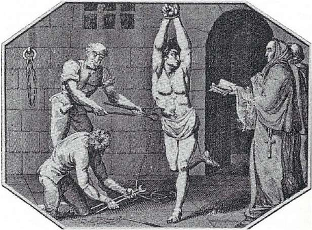 Stereotypowe wyobrażenie procesu, prowadzonego prez inkwizycję