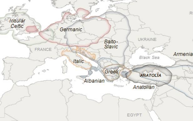 Grupy językowe wEuropie (Fot. NYT)