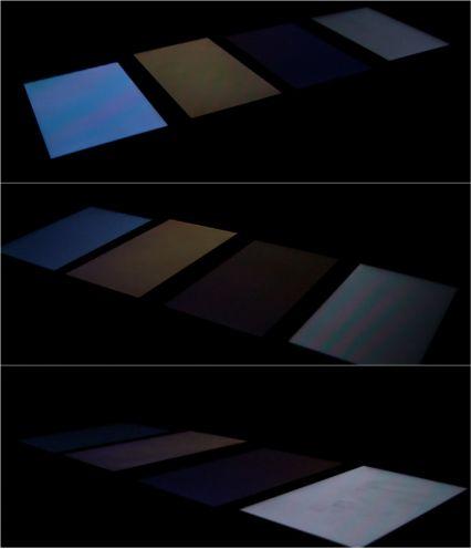 Ekrany konkurencyjnych smartfonów sfotografowane podróżnym kątem. L5 II jest trzeci odlewej.