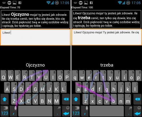 Wprowadzanie tekstu przy użyciu klawiatury SwiftKey Flow (fot. wł.)