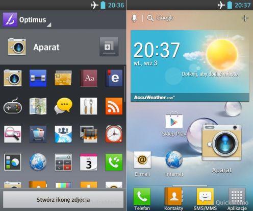 LG Swift L5 - zmiana ikon aplikacji iich wielkości