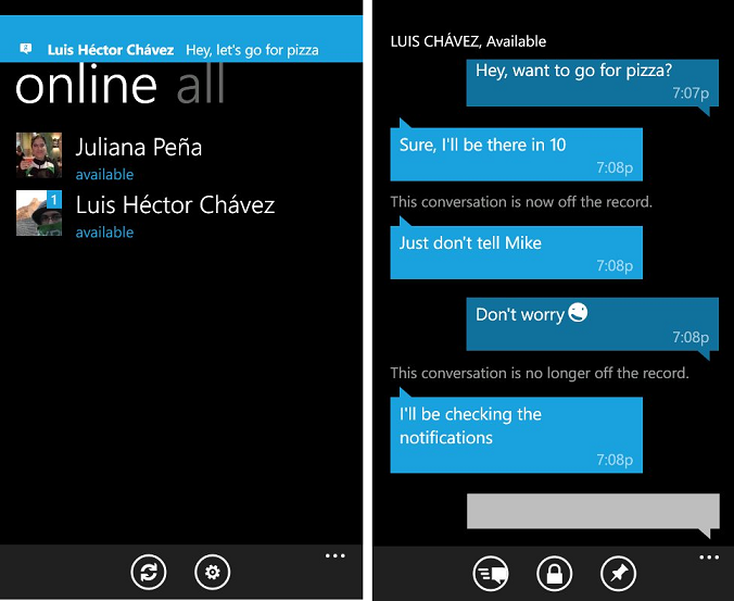 Klient Google Talk na Windows Phone