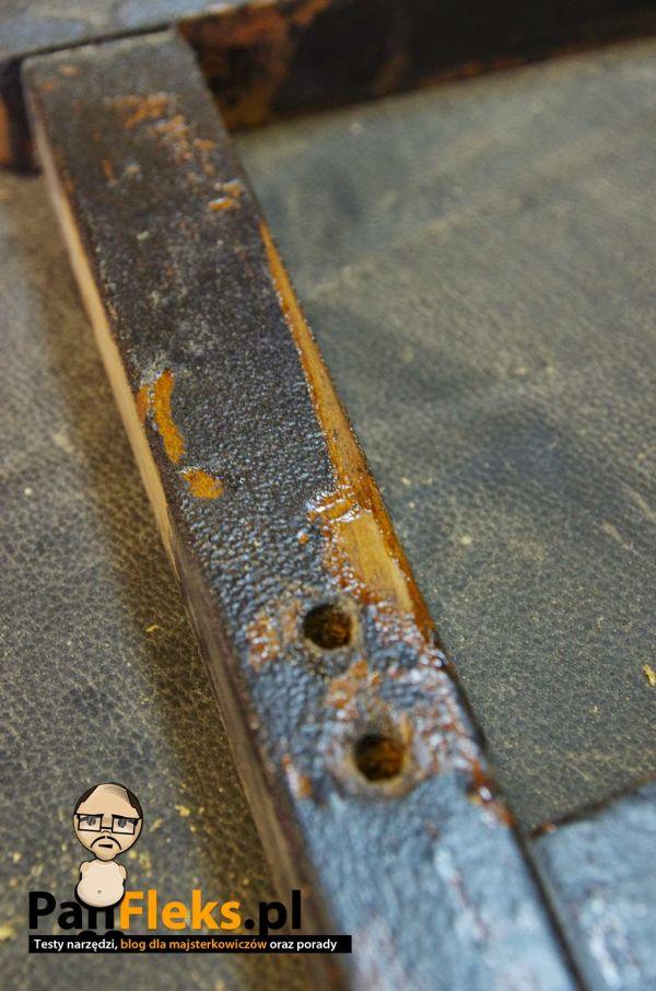 Mój fotel ktoś potraktował wcześniej farbą olejną. Fajny pomysł, ale nie dla tego, kto zechce odnowić taki mebel.
